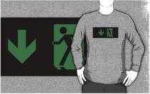 Running Man Exit Sign Adult T-Shirt 35