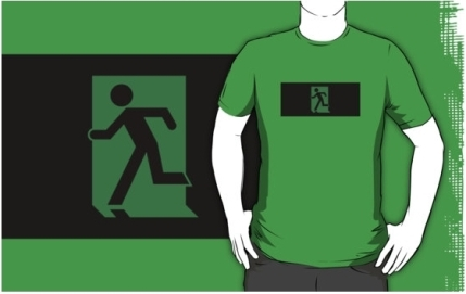 Running Man Exit Sign Adult T-Shirt 36