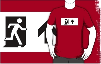 Running Man Exit Sign Adult T-Shirt 37