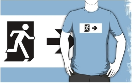Running Man Exit Sign Adult T-Shirt 38