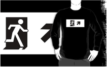 Running Man Exit Sign Adult T-Shirt 39