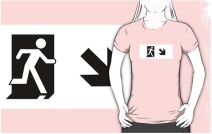 Running Man Exit Sign Adult T-Shirt 40