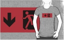 Running Man Exit Sign Adult T-Shirt 41