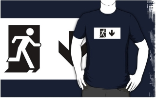 Running Man Exit Sign Adult T-Shirt 42