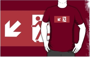 Running Man Exit Sign Adult T-Shirt 43