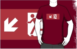 Running Man Exit Sign Adult T-Shirt 43