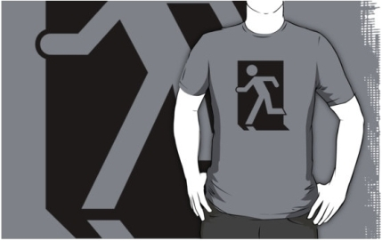 Running Man Exit Sign Adult T-Shirt 44