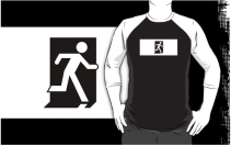 Running Man Exit Sign Adult T-Shirt 45