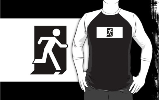 Running Man Exit Sign Adult T-Shirt 45