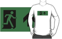 Running Man Exit Sign Adult T-Shirt 46