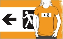 Running Man Exit Sign Adult T-Shirt 48