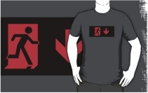 Running Man Exit Sign Adult T-Shirt 5