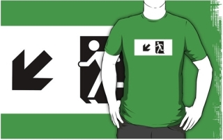 Running Man Exit Sign Adult T-Shirt 50