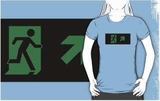 Running Man Exit Sign Adult T-Shirt 52