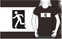 Running Man Exit Sign Adult T-Shirt 53