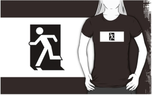 Running Man Exit Sign Adult T-Shirt 53
