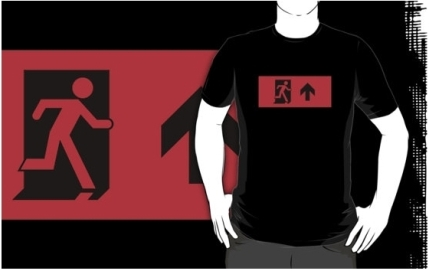 Running Man Exit Sign Adult T-Shirt 54