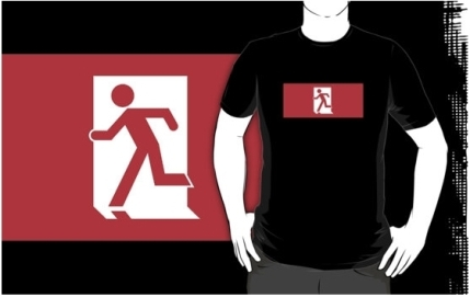 Running Man Exit Sign Adult T-Shirt 57