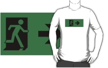 Running Man Exit Sign Adult T-Shirt 58