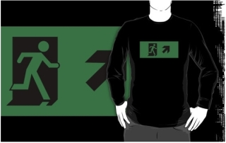 Running Man Exit Sign Adult T-Shirt 59