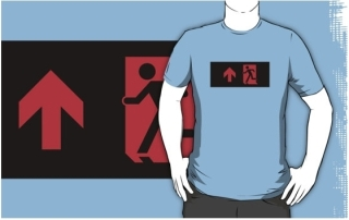Running Man Exit Sign Adult T-Shirt 6