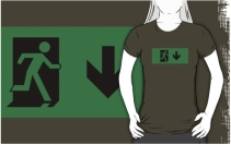 Running Man Exit Sign Adult T-Shirt 61