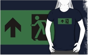 Running Man Exit Sign Adult T-Shirt 62