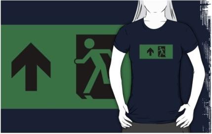 Running Man Exit Sign Adult T-Shirt 62