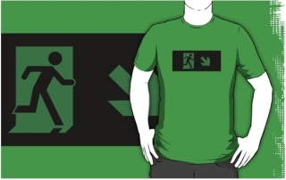 Running Man Exit Sign Adult T-Shirt 63