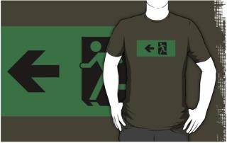 Running Man Exit Sign Adult T-Shirt 64