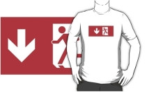 Running Man Exit Sign Adult T-Shirt 65