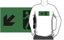 Running Man Exit Sign Adult T-Shirt 67