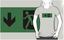 Running Man Exit Sign Adult T-Shirt 68