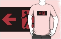 Running Man Exit Sign Adult T-Shirt 7