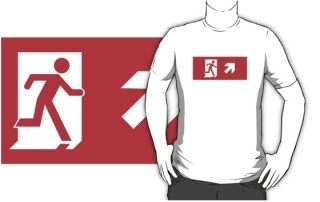 Running Man Exit Sign Adult T-Shirt 70