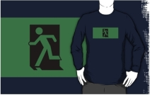 Running Man Exit Sign Adult T-Shirt 71