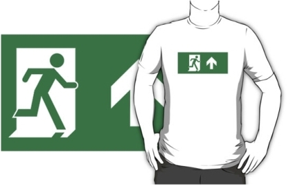 Running Man Exit Sign Adult T-Shirt 72