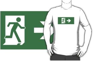 Running Man Exit Sign Adult T-Shirt 73