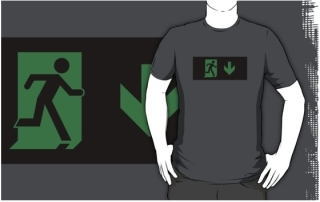 Running Man Exit Sign Adult T-Shirt 74