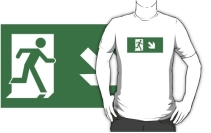 Running Man Exit Sign Adult T-Shirt 76