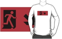 Running Man Exit Sign Adult T-Shirt 77