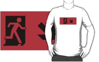 Running Man Exit Sign Adult T-Shirt 77