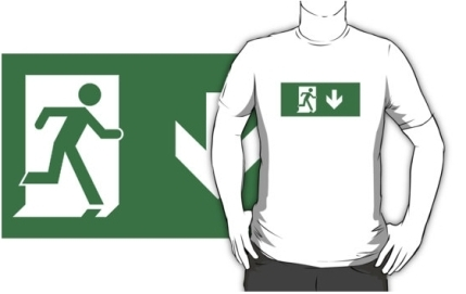 Running Man Exit Sign Adult T-Shirt 78