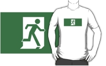Running Man Exit Sign Adult T-Shirt 79
