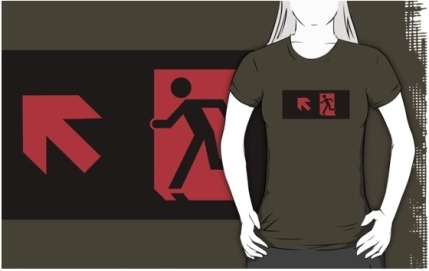 Running Man Exit Sign Adult T-Shirt 8