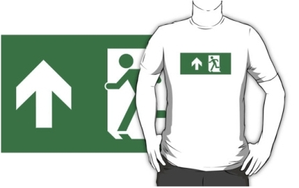 Running Man Exit Sign Adult T-Shirt 80