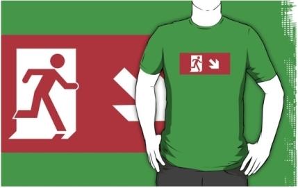 Running Man Exit Sign Adult T-Shirt 81