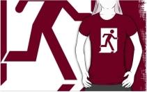 Running Man Exit Sign Adult T-Shirt 82