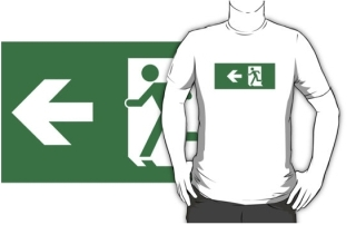 Running Man Exit Sign Adult T-Shirt 83