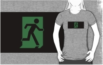 Running Man Exit Sign Adult T-Shirt 85